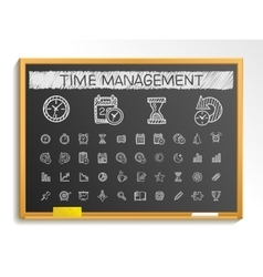 Time management hand drawing line icons chalk vector