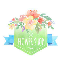 watercolor floral label with banner vector image