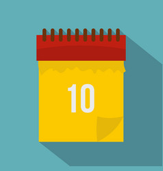 Yellow calendar with 10 date icon flat style vector