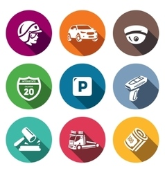 Set of road patrol police icons cop car vector