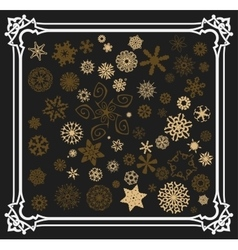 Snowflakes set with old frame vector