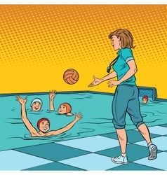 Coach playing with children sport water polo vector