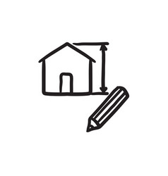 House design sketch icon vector