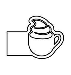 Monochrome contour with coffee cup with cream and vector