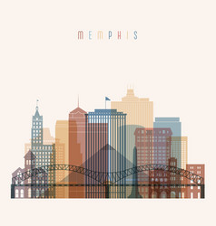 Memphis skyline detailed silhouette vector