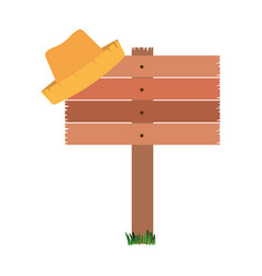 white background with wooden board and straw hat vector image