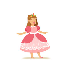 Beautifull little girl princess in pink ball dress vector