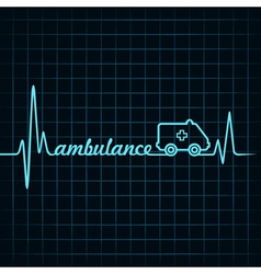 Heartbeat make ambulance text and symbol vector