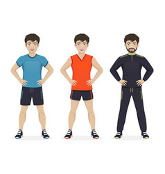 Man playing sport with different sportswear vector