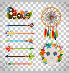 hippie or boho elements vector image