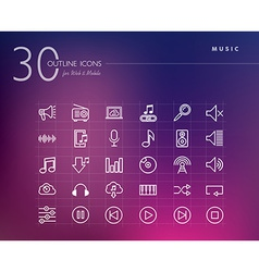 Music outline icons set vector