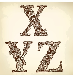 Set of letters xyz vector