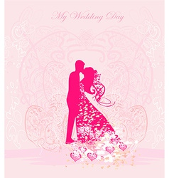 Floral greeting card with silhouette of romantic vector