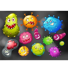 Bacteria and germs on black background vector