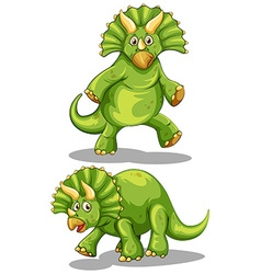 Green dinosaur with sharp horns vector