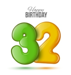 Birthday greeting card with numbers 32 thirty vector