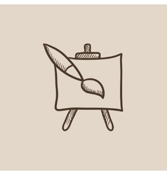 Easel and paint brush sketch icon vector