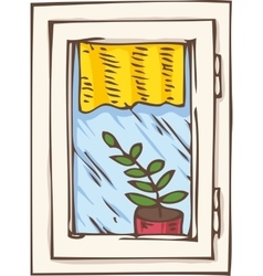 White plastic window with yellow curtain and plant vector