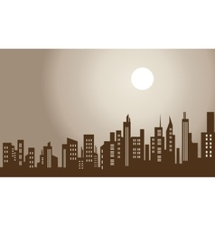 Silhouette of city and moon scenery vector