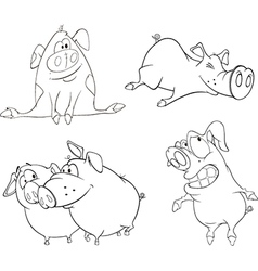 A set of pigs vector image