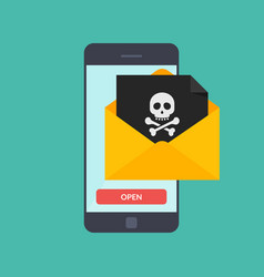 back malware notification in email on mobile phone vector image vector image