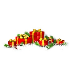 Background with heap of gift boxes vector image vector image