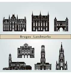 Bruges landmarks and monuments vector