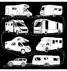 cars Recreational Vehicles Camper Vans Caravans vector image vector image