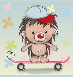 cute hedgehog with skateboard vector image vector image