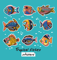 Decorative tropical fishes set colorful vector
