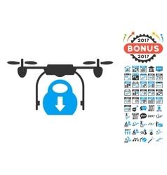 Drone Drop Cargo Icon With 2017 Year Bonus vector image vector image