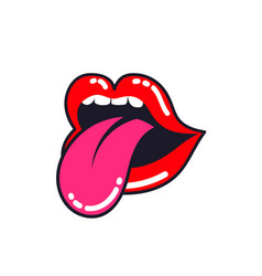 Female lips woman mouth with a tongue teeth vector