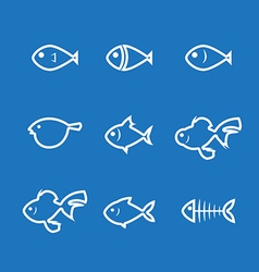 Fish icon line vector