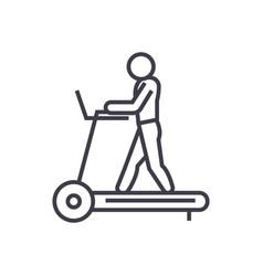 Fitness treadmill concept thin line icon vector