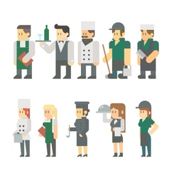 Flat design of restaurant worker set vector image