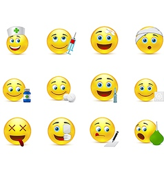Funny smileys set to the medical thematics vector