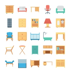 Furniture colored icons 1 vector