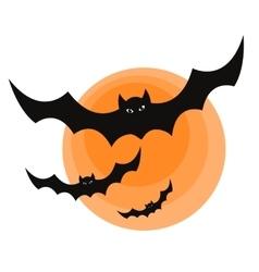 Halloween bats and moon vector