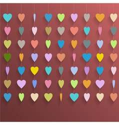 Hanging colorful hearts vector image vector image