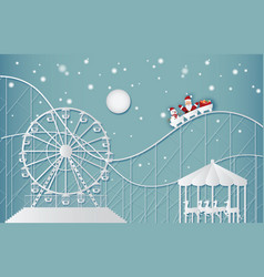 Happy new year and merry christmas on amusement vector