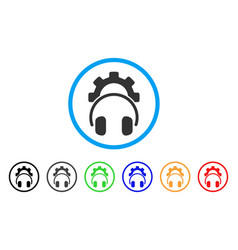 headphones configuration gear rounded icon vector image