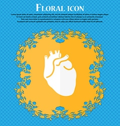 Human heart icon Floral flat design on a blue vector image vector image