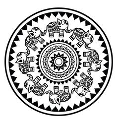 indian mandala with elephants and abstract shapes vector image vector image