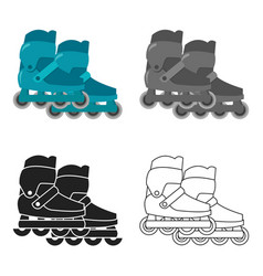 Inline skates and scooter icon in cartoon style vector