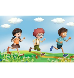 Kids running at the hills vector