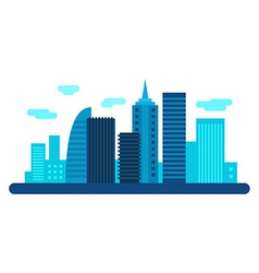 Modern city with scyscrapers city landscape flat vector