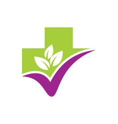 Organic leaf cross hospital medic logo vector