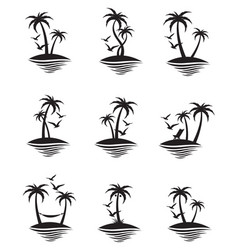 Palm icons set vector