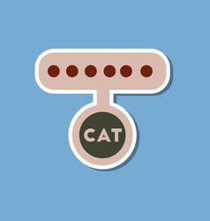 Paper sticker on stylish background cat collar vector