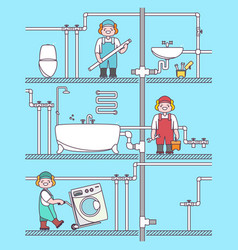 plumber worker cartoon character male character vector image vector image